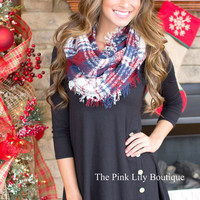 Navy and Burgundy Rugged Plaid Infinity Scarf