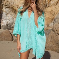 VONE05L Hot sale summer style women Cover Ups sexy deep V-neck swimsuit cover up bikini beach cover up Blue loose beachwear