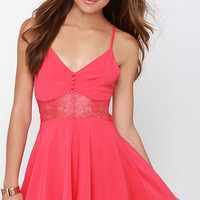 V-neck Cross Strap Back Dress with Lace