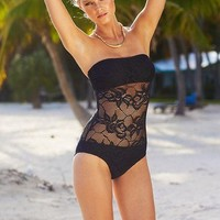 Kenneth Cole Black Lace Overlay Bandeau One Piece Swimsuit M Medium NWT NEW