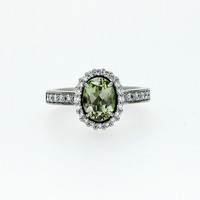 Oval cut Peridot halo engagement ring with diamonds, peridot engagement ring, vintage style, unique, custom, green, white gold