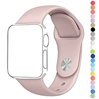 HuanlongTM New Soft Silicone Sport Style Replacement Iwatch Strap Band for Apple Wrist Watch Series 1 Series2 (Pink Sand 38mm M/L)