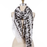 Black/White Skull Scarf