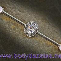 White Rhinestone Oval Industrial Barbell 14ga Surgical Steel Scaffold Bar Body Jewelry