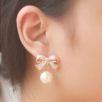 High Quality Delicate Gold Plated Pink Drops Of Oil Butterfly Bow Knot Pearl Stud Earrings For Women Fashion Jewelry E22