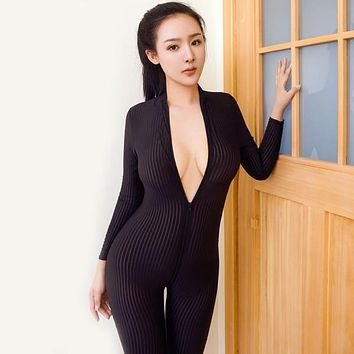 Dame Black Striped Sheer Jumpsuit