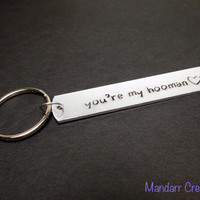 You're My Hooman with Heart Stamp, Hand Stamped Aluminum Keychain for Pet Owners