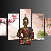 Abstract Printed Buddha Painting by Numbers Canvas Wall Art Home Decor Buda Cuadros Picture  For Living Room Unframed 5 Pieces