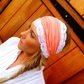 Coral Stretchy Lace Headband Jersey Head bands  by ThreeBirdNest