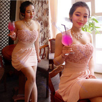 New Sexy Clothing Clubwear Lace Satins Wear Strapless Stretchy Party Dress Pink