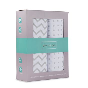 Bassinet Sheet Set 2 Pack 100% Jersey Cotton for Baby Girl by Ely's & Co. - Grey Chevron and Polka Dot by Ely's & Co. Bassinet