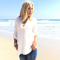 Send Me On My Way Blouse In Ivory