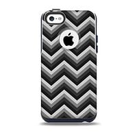 The Black Grayscale Layered Chevron  Skin for the iPhone 5c OtterBox Commuter Case