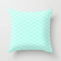 Mint Wave Throw Pillow by Beautiful Homes