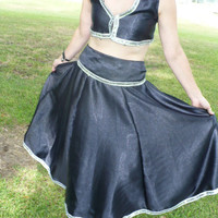 Three piece Choli top, scarf belt and gorgeous skirt, trimmed with sequins, tiny bells by KitKatCabaret on Etsy