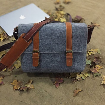Sale/Digital camera bag /Backpack/Leather Messenger Bag/ water-proof felt photographer's bag / Retro Handbag / grey Satchel