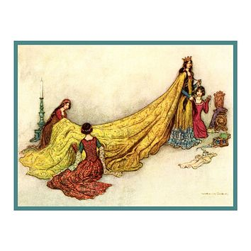 Dressing the Queen by Warwick Goble Counted Cross Stitch Chart Graph Pattern