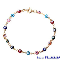 Hot Selling Womens Girls 18K Rose Gold Plated Vintage Colorful Infinity Round Eyes Bracelet women 4R4B