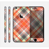 The Gray & Bright Orange Plaid Layered Pattern V5 Skin for the Apple iPhone 6