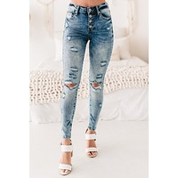 New Opportunities Mid-Rise Distressed Button-Down Skinny Jeans (Medium)