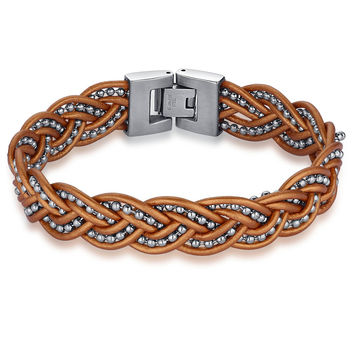 Braided Leather and Stainless Steel Beads  Bracelet