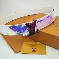 LV Louis Vuitton Woman Men Stylish Cool Smooth Buckle Belt Laser Waist Belt