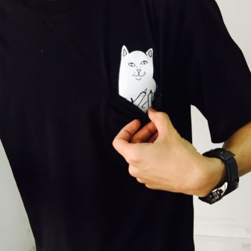 Grey Plain Cat Appliques Pockets Cotton T-Shirt [1837894980]