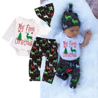 Christmas Newborn Infant Baby Boy Girl Clothes Colorful Deer Bebes Long Sleeve Bodysuit Pant Hat 3pcs Autumn Winter Clothing Set