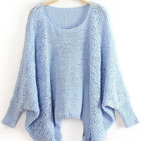 Sky Blue Dolman Sleeve Sweater