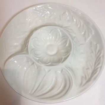 Vintage Whittier Pottery1975 USA Made White Majolica Round Chip Dip Platter 10""