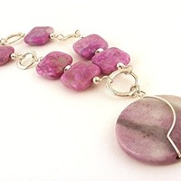 Handmade Purple Violet Gemstone Necklace with Wire Wrapped Circle Pendant
