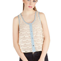 ModCloth Boho Short Sleeveless Cropped Scallop, Up, and Away! Top