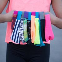 Neon Peach and Hot Pink Workout Style Yoga Perfect Fit NonSlip Runner's Stretch Headband Headwrap