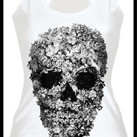 Womens Fashion Cult Flowers Skull Digital Print Tank Tops Gothic Steampunk T-shirts (Size: M, Color: Multicolor) = 1956798404