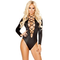 Sexy Afterhour Party Long Sleeved V Neck One Piece with Lace Up Detail