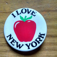 Vintage I Love New York Big Apple Pinback Button, Souvenir Pin