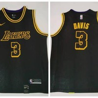 Nike Los Angeles Lakers 3 Anthony Davis Basketball Jersey Black City