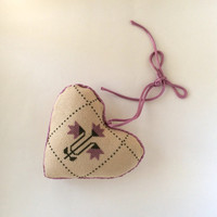 Vintage Handmade Cross Stitch Heart Pillow, Ornament, Lavender & Eggshell