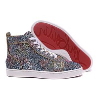 CL Christian Louboutin Women Men's Fashion Leather Fashion High Top Sneakers Shoes