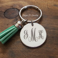Engraved Monogram Keychain with Tassle Charm, Gift for Her, Tassle Keychain, Initial Keychain, Birthday Gift, Personalized Gift for Her