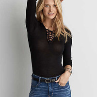 AEO Lace-Up Bodysuit , True Black