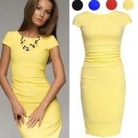 Women Midi Summer Style Dress Short Sleeve Knee Length Office Ladies Pencil Dress Wrinkle Bodycon Casual [8425453703]