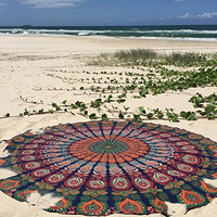 Shopnelo  Indian Mandala Round Roundie Beach Throw Tapestry Hippy Boho Gypsy Cotton Tablecloth Beach Towel , Round Yoga Mat