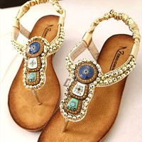 Beads Embellished Flat Sandals 060502 from topsales
