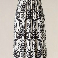 Elegant Damask Maxi Dress - Black and White