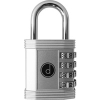 Padlock - 4 Digit Combination Lock for School, Employee, Gym & Sports Locker, Case, Toolbox, Fence, Hasp, Cabinet & Storage - Easy to Set Your Own Combo - Metal & Plated Steel - Weather Proof - Color Silver