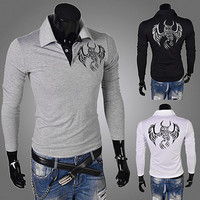 Long Sleeve Polo with Eagle Detail