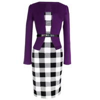 Plaid Long Sleeve Belted Combo Dress