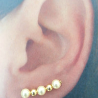 Light Gold Pearl Ear Pins - Ear Sweeps - Ear Pins - Bobby Pin Earrings Perfect for Bridesmaids