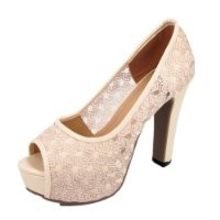 Jean's song Women's Lace Upper Open Toe High Heeled Shoes US 5.5